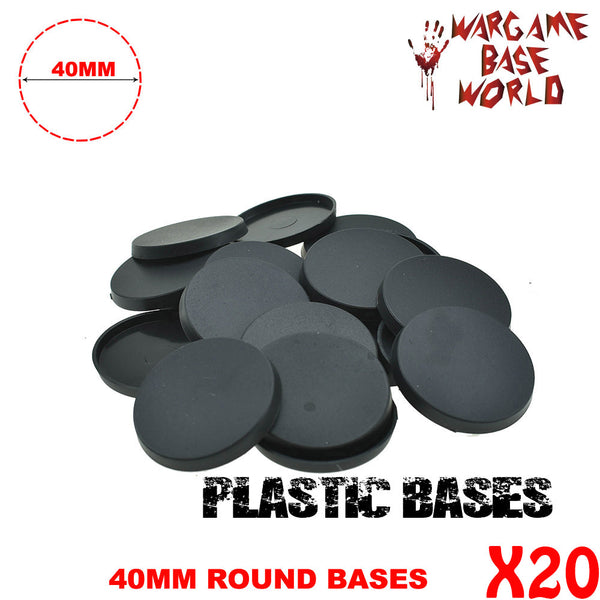 warhammer bases - Wargame Base World - Lot of 20 - 40mm round bases - Plastic wargame bases - HeyyoucCast Workshop
