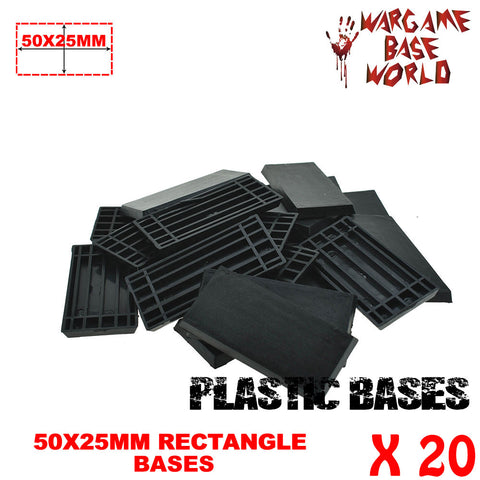 Wargame Base World - Lot of 20 -  50x25mm rectangular plastic bases - WargameBase Store