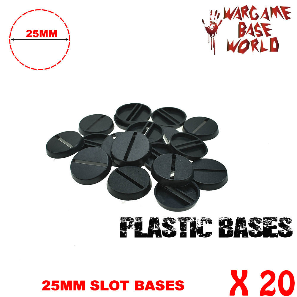 warhammer bases - Wargame Base World - Lot of 20 25mm slot round miniature bases - Plastic wargame bases - WargameBase Store