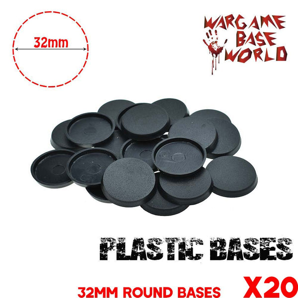 warhammer bases - Wargame Base World - Lot of 20 32mm round bases for warmachine game - Plastic wargame bases - WargameBase Store