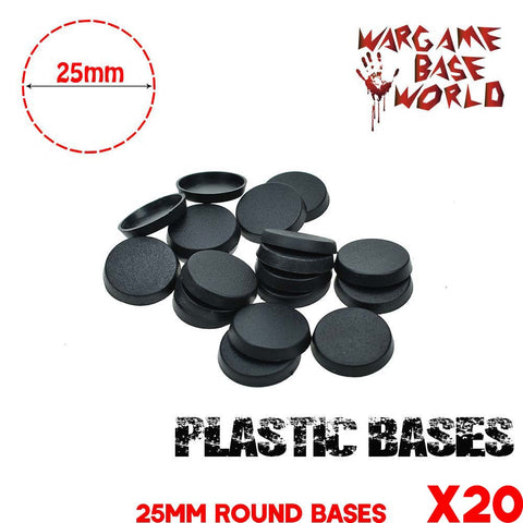 warhammer bases - Wargame Base World - Lot of 20 25mm round miniature bases - Plastic wargame bases - WargameBase Store
