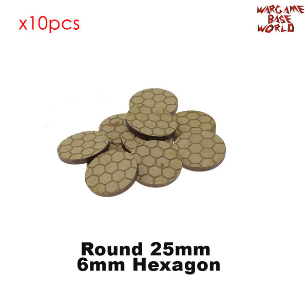 warhammer bases - MDF Texture Bases - Hexagon Texture bases - 25mm-40mm round bases - MDF Texture Bases - WargameBase Store