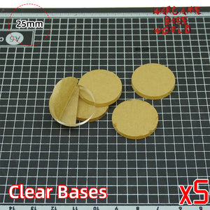 warhammer bases - 25mm round clear bases TRANSPARENT / CLEAR BASES for Miniatures - Clear Bases - WargameBase Store