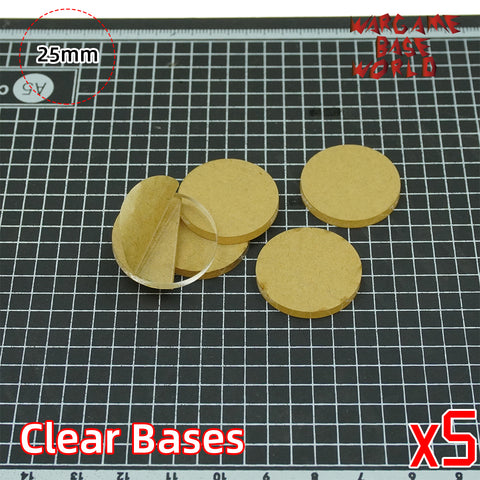 25mm Round Clear Bases TRANSPARENT / CLEAR BASES for Miniatures - WargameBase Store