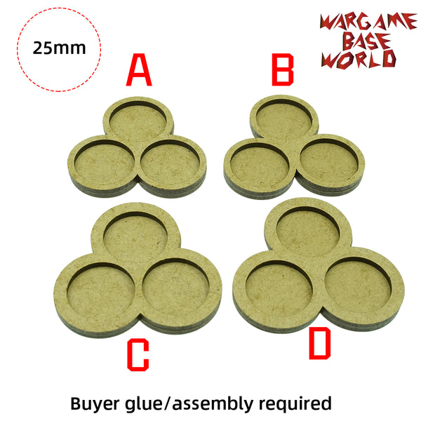 MDF Bases - 3 Model - Movement Tray - 3 sets 25mm round - WargameBase Store