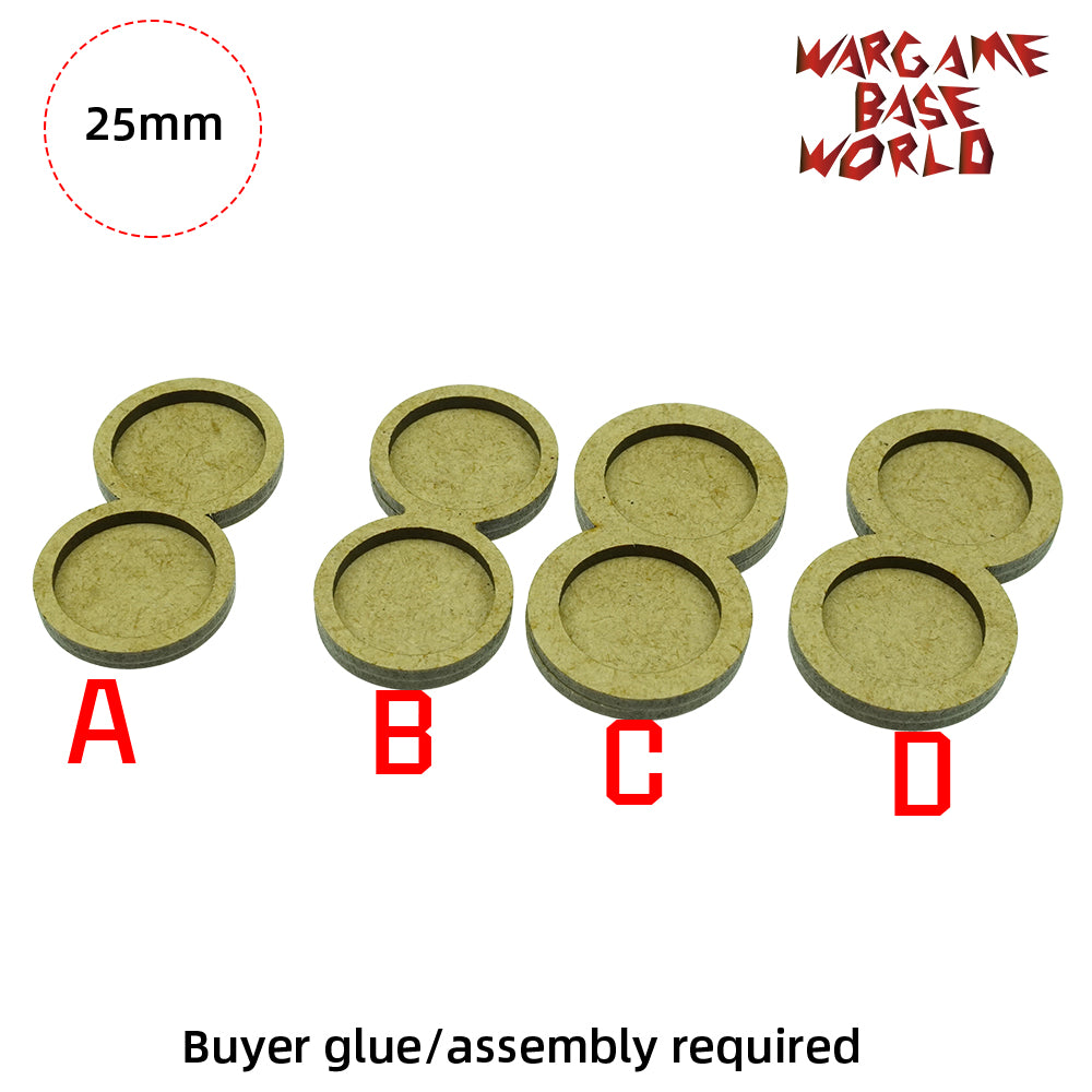 MDF Bases - 2 Model - Movement Tray - 4sets - 25mm round - WargameBase Store