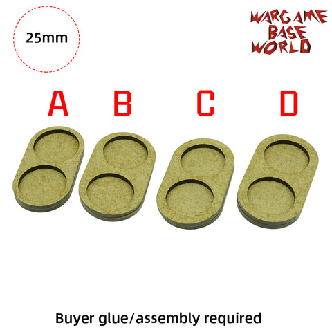 MDF Bases - 2 Model - Movement Tray - 4sets 25mm round - WargameBase Store