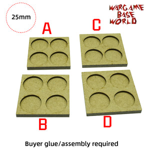 MDF Bases - 4 Model - Movement Tray - 2 sets 25mm round