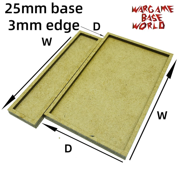 warhammer bases - 25mm bases with 3mm edge - MDF wargame Movement Tray - movement tray - WargameBase Store