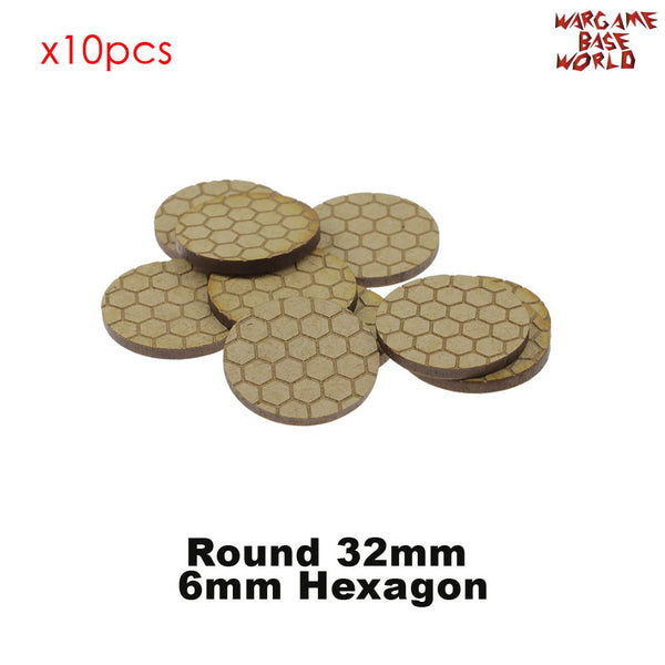 MDF Texture Bases - Hexagon Texture bases - 25mm-40mm round bases - WargameBase Store