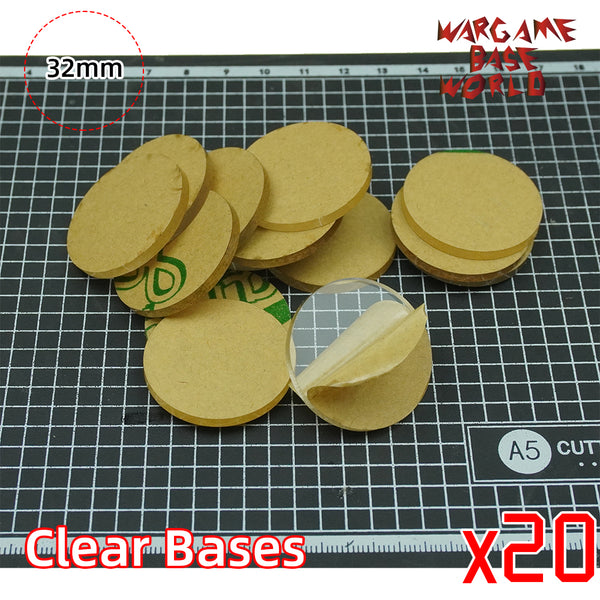 32mm Round Clear Bases TRANSPARENT / CLEAR BASES for Miniatures - WargameBase Store