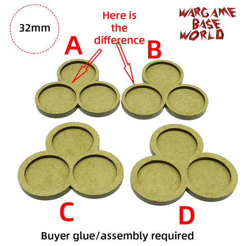 MDF Bases - 3 Model - Movement Tray - 3sets - 32mm round - WargameBase Store