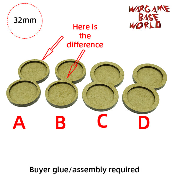 MDF Bases - 2 Model - Movement Tray - 4sets - 32mm round