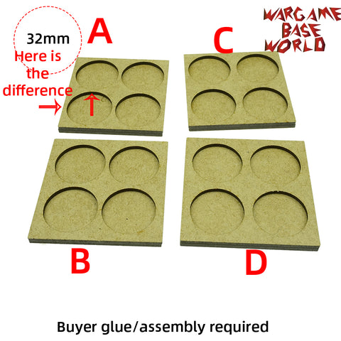 MDF Bases - 4 Model - Movement Tray - 2sets - 32mm round - WargameBase Store