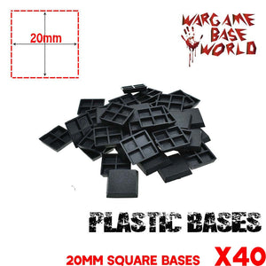 warhammer bases - Lot of 40 20mm square closed bases - Plastic wargame bases - WargameBase Store