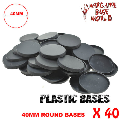 warhammer bases - Wargame Base World - Lot of 40 - 40mm round miniature bases for Warhammer - Plastic wargame bases - HeyyoucCast Workshop