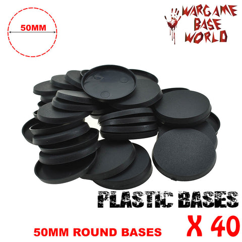 Wargame Base World - Lot of 40 -  50mm round plastic bases - WargameBase Store
