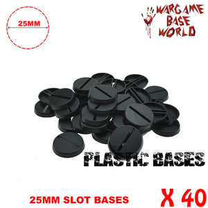 warhammer bases - Wargame Base World - Lot of 40 - 25mm plastic 40k slot round bases - Plastic wargame bases - WargameBase Store