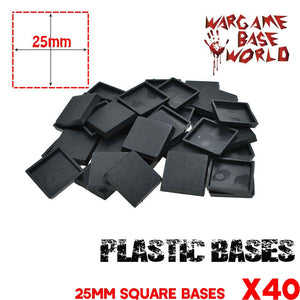warhammer bases - Wargame Base World - Lot of 40 Square 25mm bases for RPG game - Plastic wargame bases - WargameBase Store