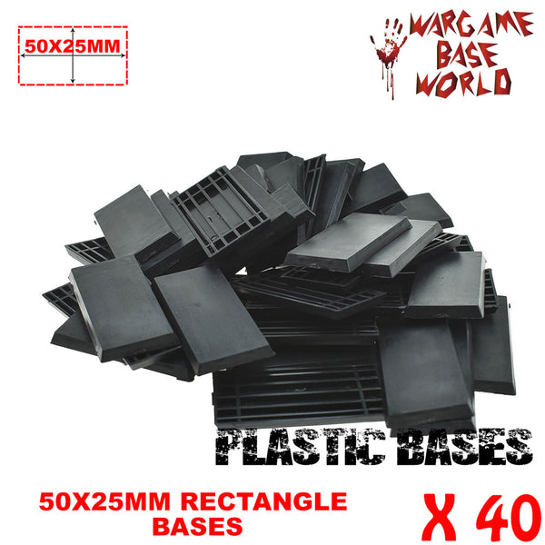 Wargame Base World - Lot of 40 - 50x25mm rectangular plastic bases - WargameBase Store