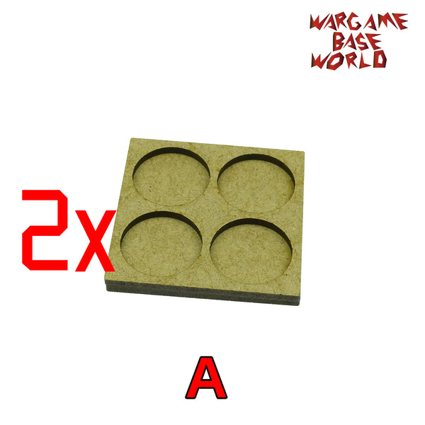 MDF Bases - 4 Model - Movement Tray - 2 sets 25mm round - WargameBase Store