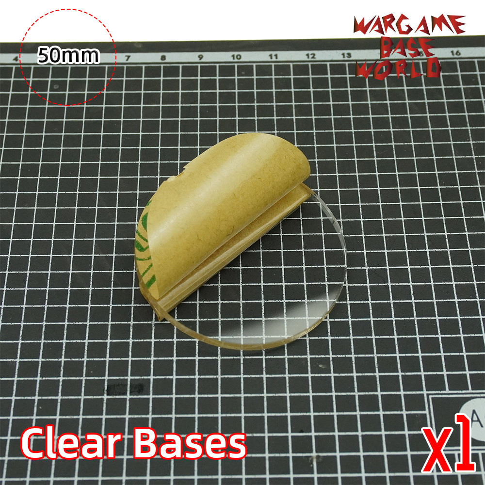 warhammer bases - 50mm round clear bases TRANSPARENT / CLEAR BASES for Miniatures - Clear Bases - WargameBase Store