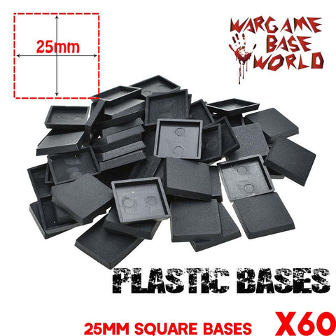 warhammer bases - Wargame Base World - Lot of 60 25mm 40k square base for Table Game - Plastic wargame bases - WargameBase Store