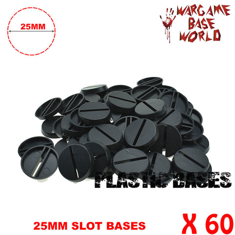 warhammer bases - Wargame Base World - Lot of 60 - slot round 25mm wargaming bases - Plastic wargame bases - WargameBase Store