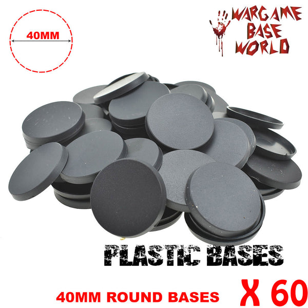 warhammer bases - Wargame Base World - Lot of 60 -  40mm miniature bases - Plastic wargame bases - HeyyoucCast Workshop