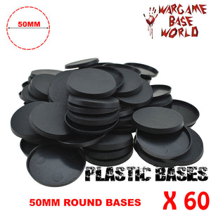 Wargame Base World - Lot of 60 - 50mm round plastic bases - WargameBase Store
