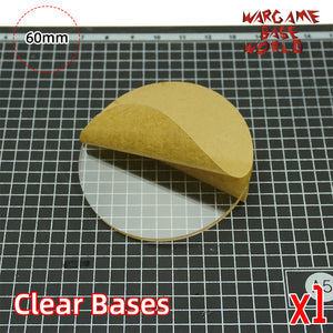 warhammer bases - 60mm round clear bases TRANSPARENT / CLEAR BASES for Miniatures - Clear Bases - WargameBase Store
