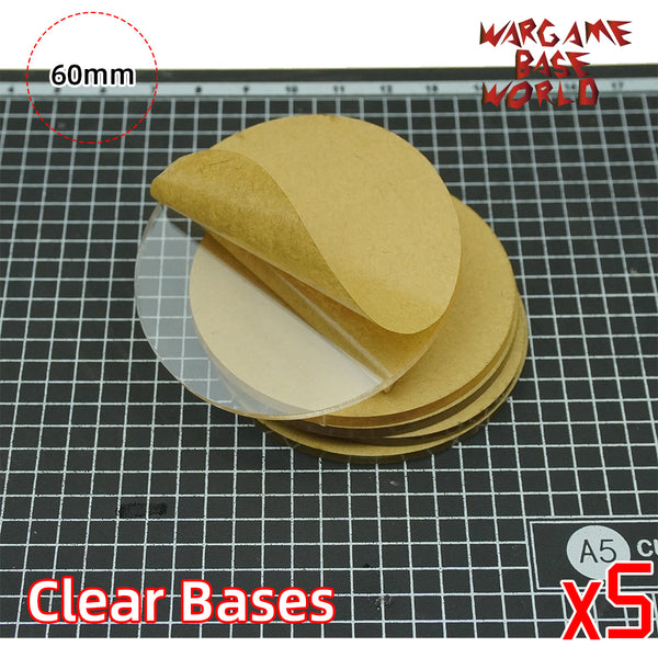 60mm Round Clear Bases TRANSPARENT / CLEAR BASES for Miniatures - WargameBase Store