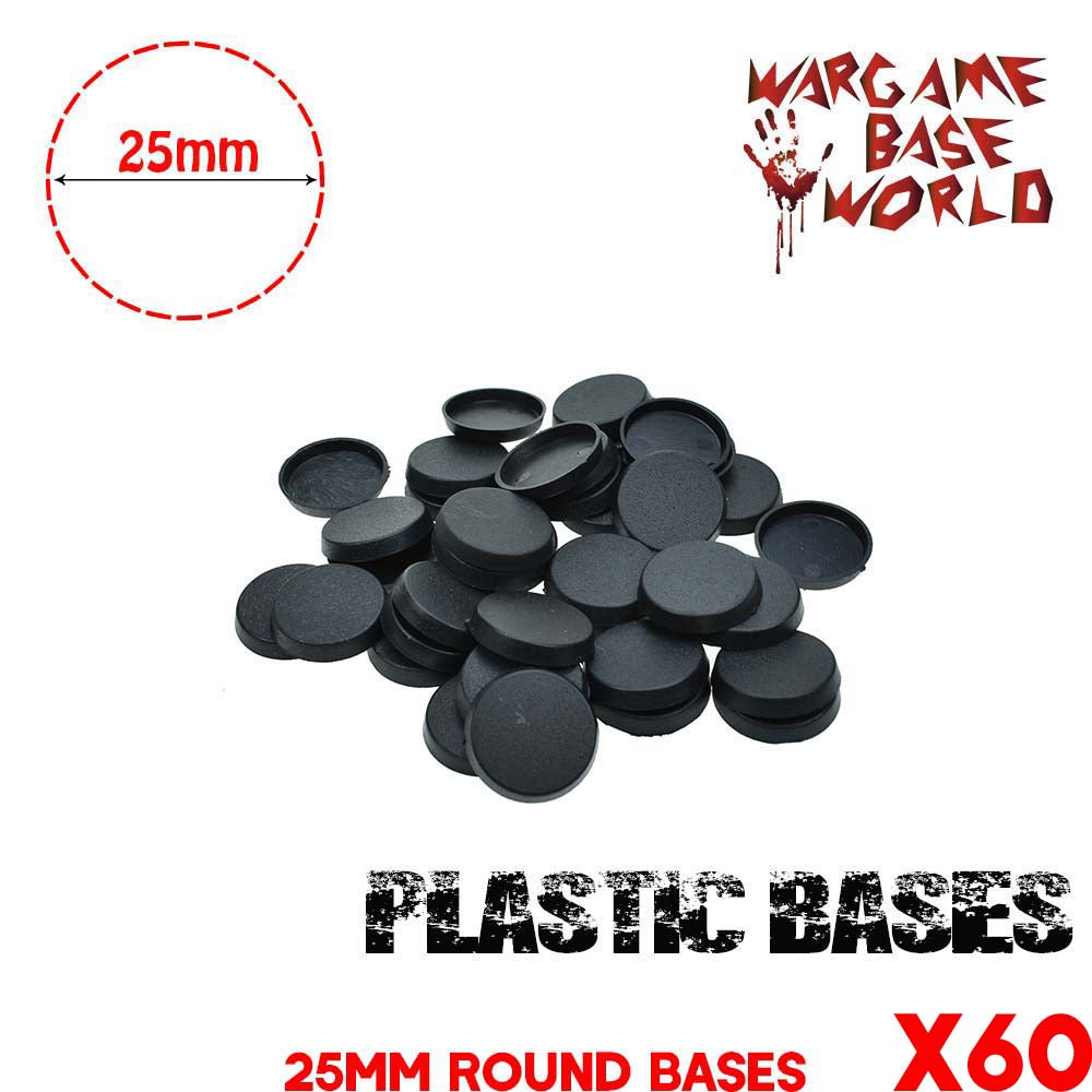warhammer bases - Wargame Base World - Lot of 60 round 25mm wargaming bases - Plastic wargame bases - WargameBase Store