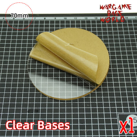 warhammer bases - 70mm Round Clear Bases TRANSPARENT / CLEAR BASES for Miniatures - Clear Bases - WargameBase Store