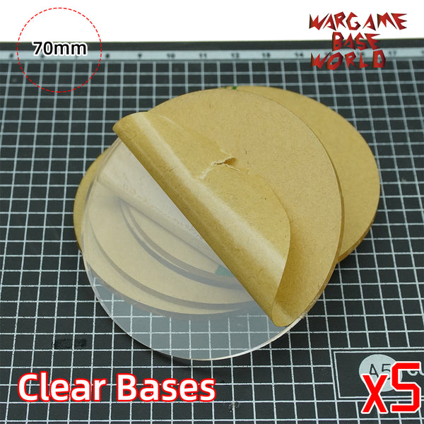 70mm Round Clear Bases TRANSPARENT / CLEAR BASES for Miniatures - WargameBase Store