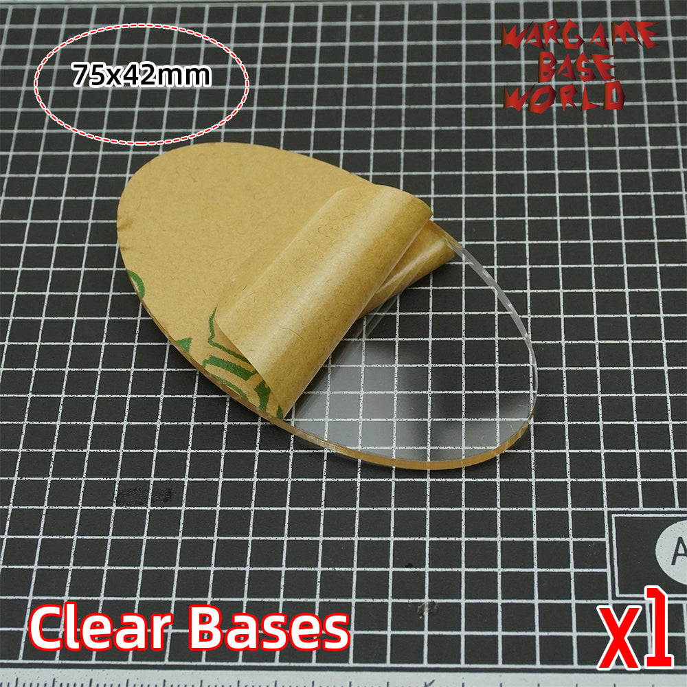 warhammer bases - Oval clear 75x42mm round clear bases TRANSPARENT / CLEAR BASES for Miniatures - Clear Bases - WargameBase Store