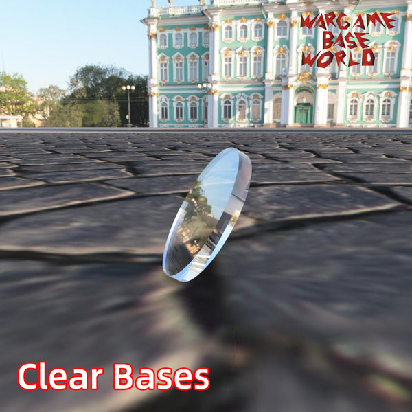 warhammer bases - 32mm Round Clear Bases TRANSPARENT / CLEAR BASES for Miniatures - Clear Bases - WargameBase Store