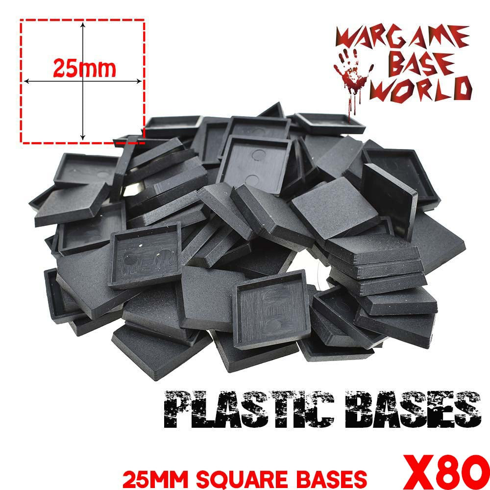 warhammer bases - Wargame Base World - Lot of 80 25mm square miniature bases for Warhammer Game - Plastic wargame bases - WargameBase Store