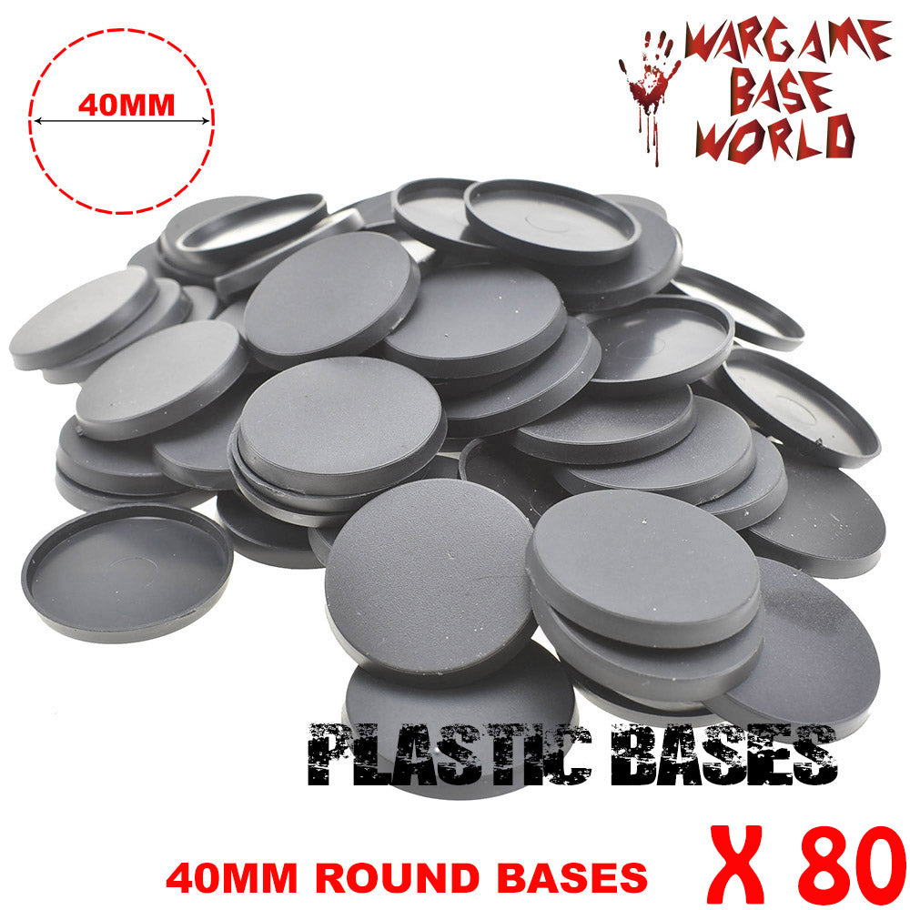 warhammer bases - Wargame Base World - Lot of 80 -  40mm round miniature bases - Plastic wargame bases - HeyyoucCast Workshop