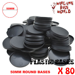 Wargame Base World - Lot of 80 - 50mm round plastic bases - WargameBase Store