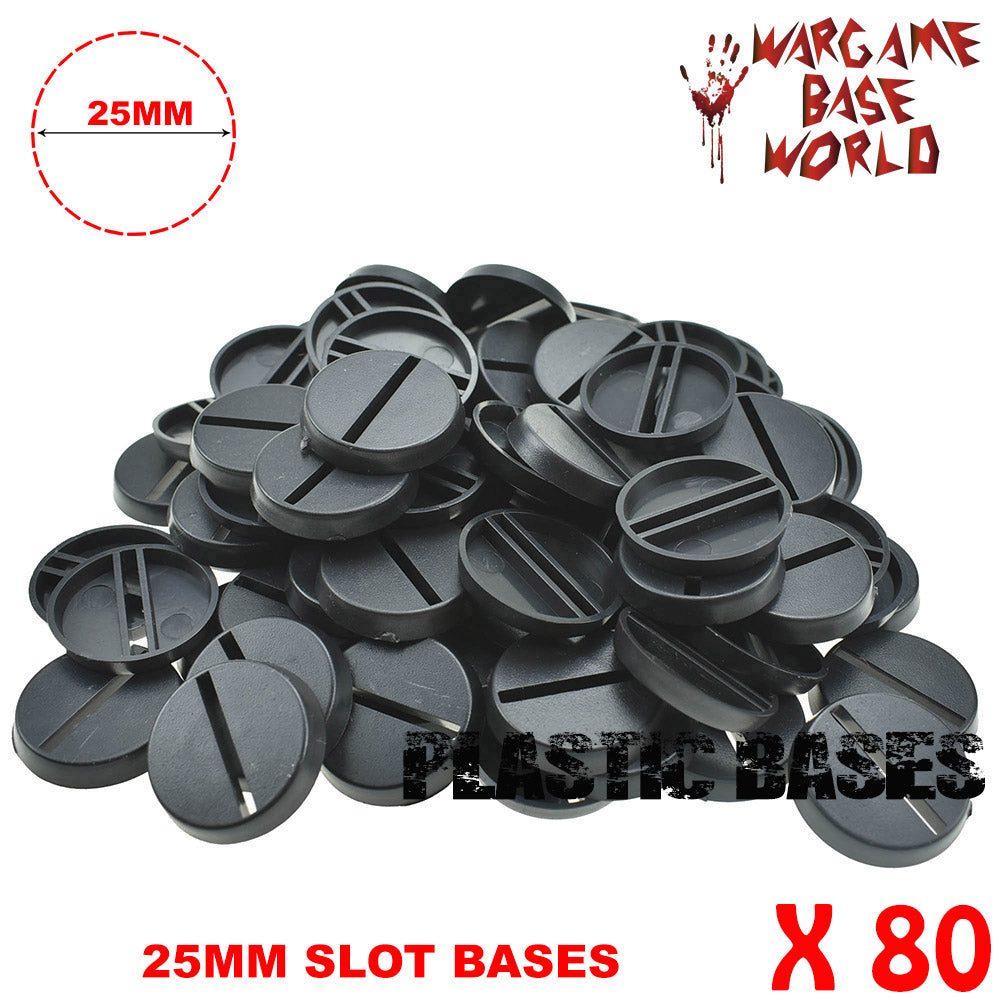 warhammer bases - Wargame Base World - Lot of 80 25mm plastic round slot bases - Plastic wargame bases - WargameBase Store