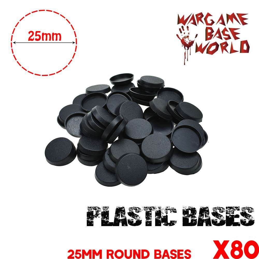 warhammer bases - Wargame Base World - Lot of 80 25mm plastic round bases - Plastic wargame bases - WargameBase Store