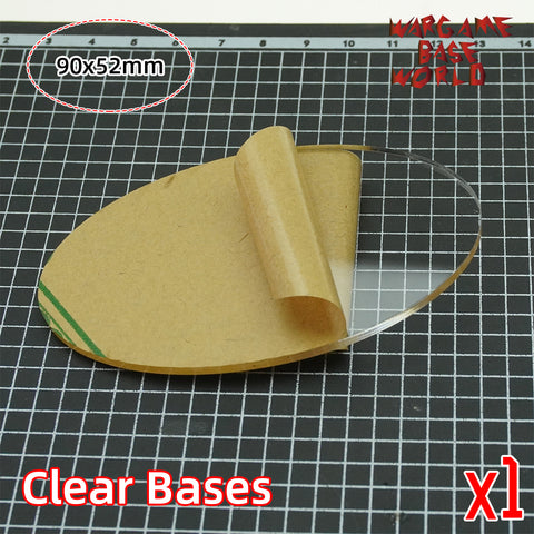 warhammer bases - Oval clear 90x52mm round clear bases TRANSPARENT / CLEAR BASES for Miniatures - Clear Bases - WargameBase Store