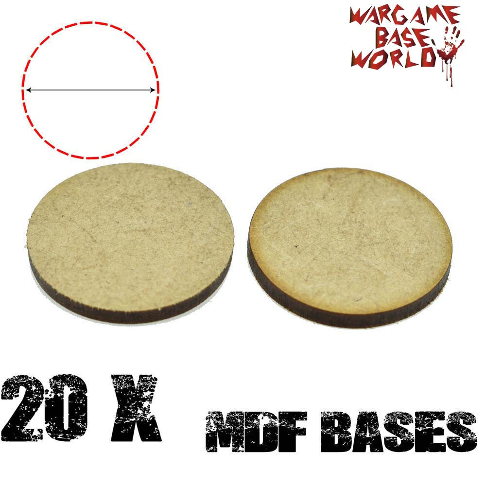 warhammer bases - Wargame Base World - Lot of 20 - 32mm round mdf bases - MDF BASE - WargameBase Store