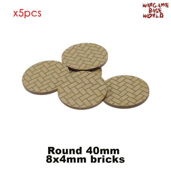warhammer bases - MDF Texture Bases - Herringbone Bricks Pavement Pattern 25mm-40mm round bases - MDF Texture Bases - WargameBase Store