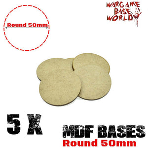 warhammer bases - Wargame Base World - Lot of 5 - 50mm round mdf bases - MDF BASE - WargameBase Store