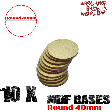 warhammer bases - Wargame Base World - Lot of 10 - 40mm round mdf bases - MDF BASE - WargameBase Store