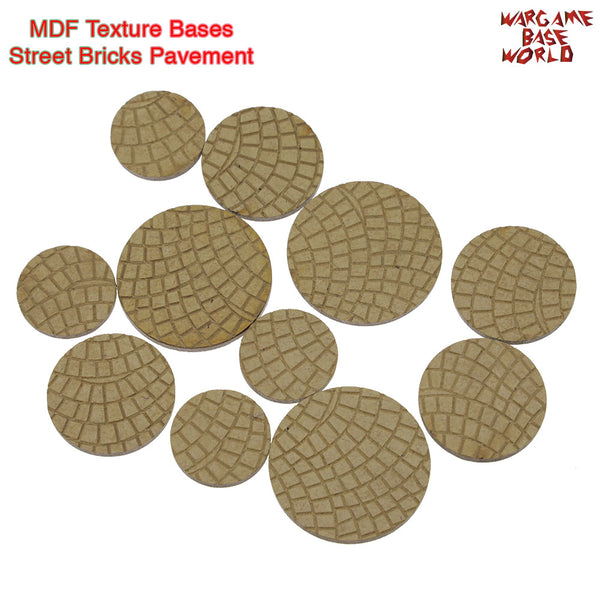 warhammer bases - MDF Texture Bases - Street Bricks Pavement Texture bases - MDF Texture Bases - WargameBase Store