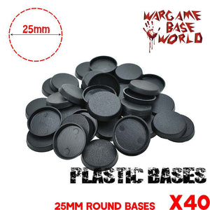 warhammer bases - Wargame Base World - Lot of 40 25mm plastic 40k round bases - Plastic wargame bases - WargameBase Store