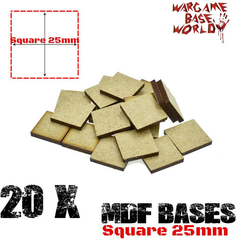 warhammer bases - Wargame Base World - Lot of 20 - 25mm Square mdf bases - MDF BASE - WargameBase Store